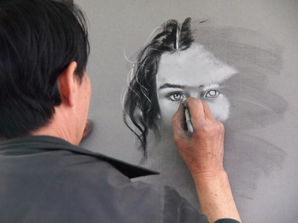 Artist drawing woman