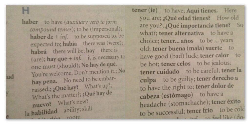 Haber Tener Grammar Hacks