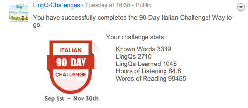 90 day italian challenge badge
