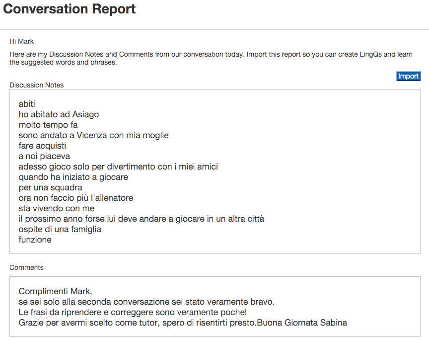 italian conversation report LingQ