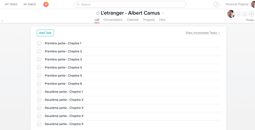 L'etranger (The Stranger) French novel study plan in Asana