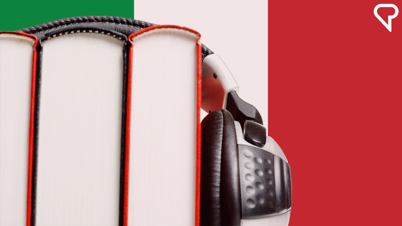 Italian books and headphones