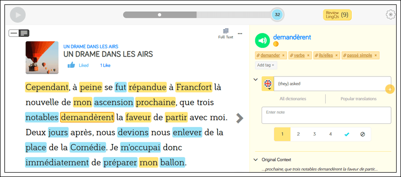 Reading French on LingQ